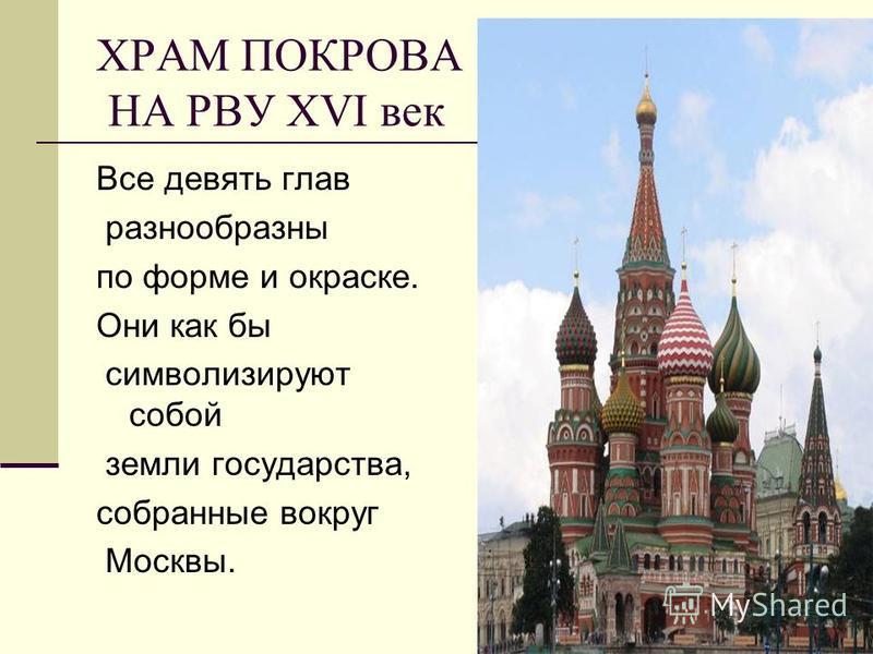 ХРАМ ПОКРОВА НА РВУ ХVI век Все девять глав разнообразны по форме и окраске. Они как бы символизируют собой земли государства, собранные вокруг Москвы.