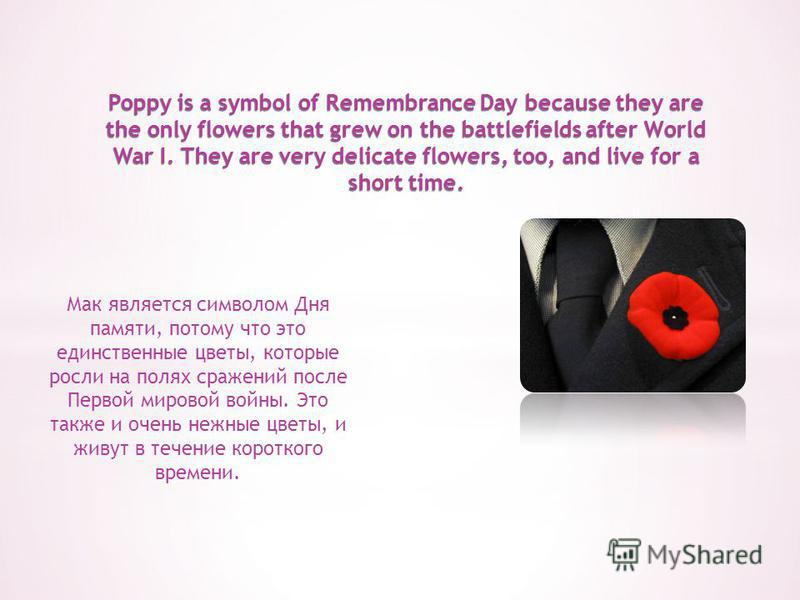 Poppy is a symbol of Remembrance Day because they are the only flowers that grew on the battlefields after World War I. They are very delicate flowers, too, and live for a short time. Мак является символом Дня памяти, потому что это единственные цвет