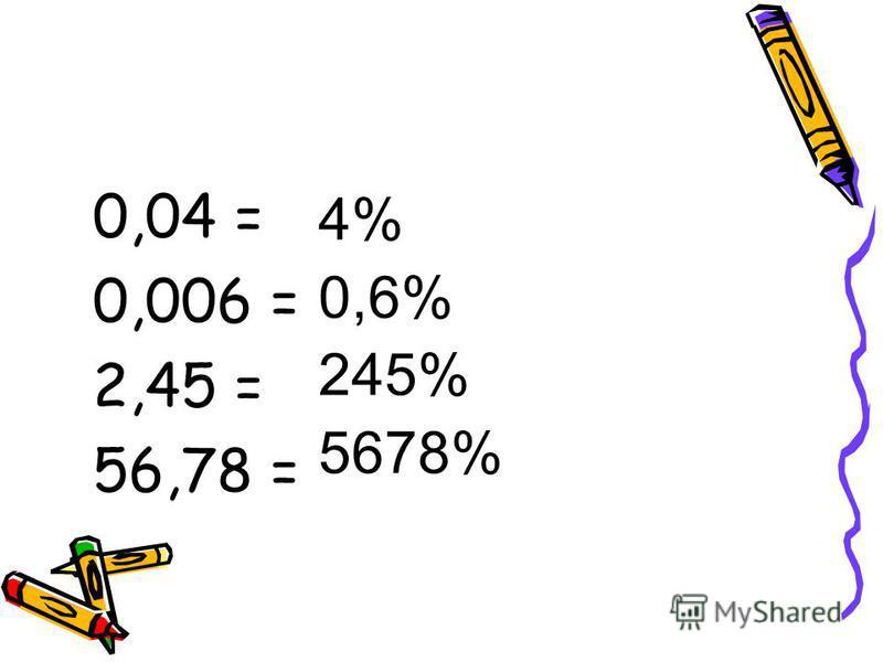 14 Переведите десятичную дробь в проценты: 0,23 = 0,57 = 0,98 = 5 класс 23% 57% 98%