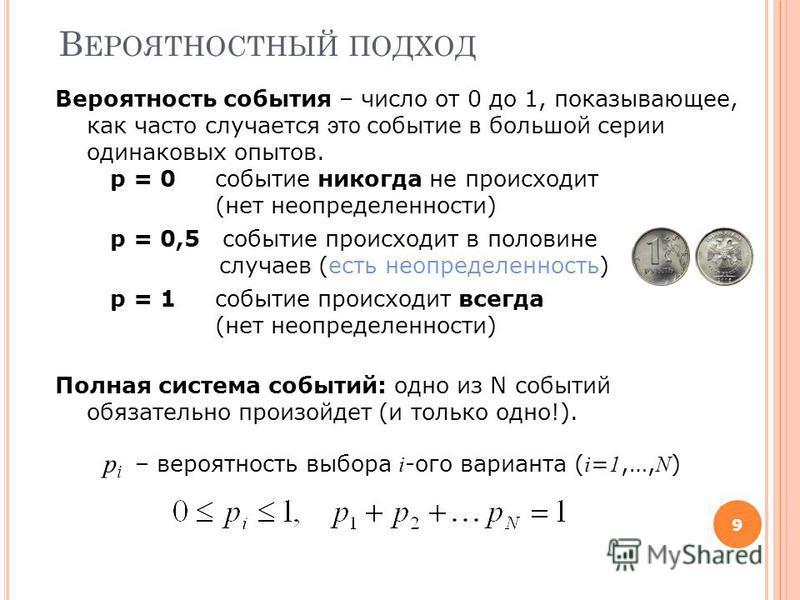 В ЕРОЯТНОСТНЫЙ ПОДХОД 9 Вероятность события – число от 0 до 1, показывающее, как часто случается это событие в большой серии одинаковых опытов. p = 0 событие никогда не происходит (нет неопределенности) p = 0,5 событие происходит в половине случаев (