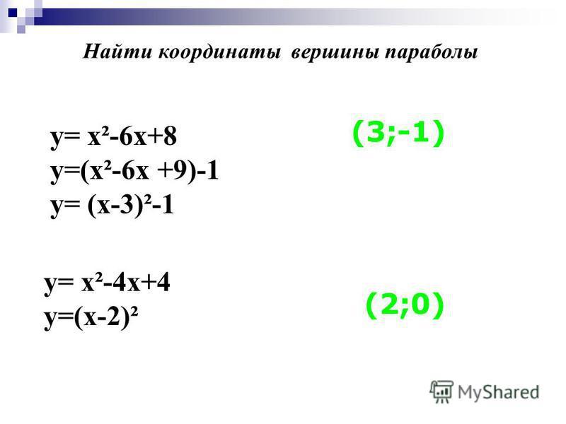 у= х²-6 х+8 y=(х²-6x +9)-1 у= (х-3)²-1 у= х²-4 х+4 у=(х-2)² (3;-1) (2;0) Найти координаты вершины параболы