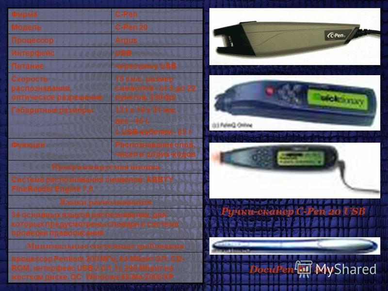 ФирмаC-Pen МодельC-Pen 20 ПроцессорArgus ИнтерфейсUSB Питаниечерез шину USB Скорость распознавания, оптическое разрешение 15 см/с, размер символов - от 5 до 22 пунктов, 330 dpi Габаритные размеры 131 х 19 х 31 мм, вес - 45 г, с USB-кабелем - 83 г Фун
