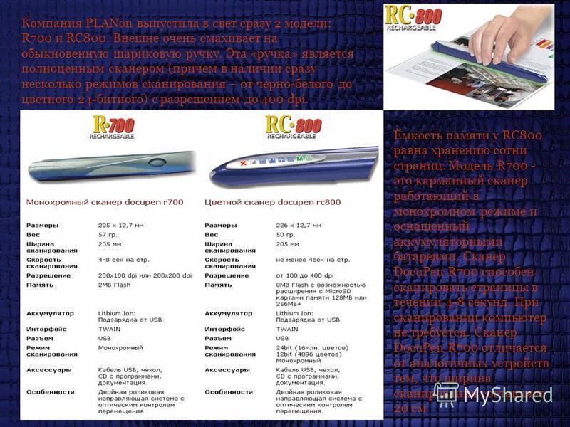 Компания PLANon выпустила в свет сразу 2 модели: R700 и RC800. Внешне очень смахивает на обыкновенную шариковую ручку. Эта «ручка» является полноценным сканером (причем в наличии сразу несколько режимов сканирования – от черно-белого до цветного 24-б