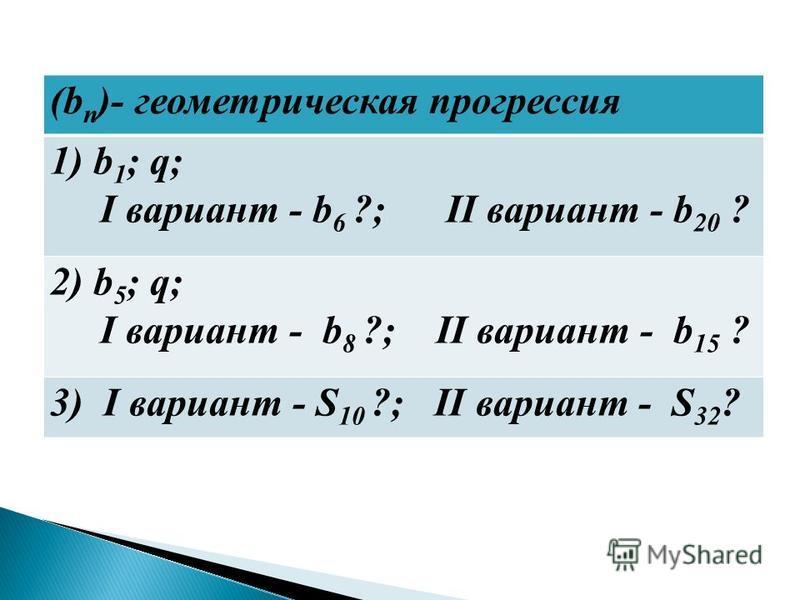 (b n )- геометрическая прогрессия 1) b 1 ; q; I вариант - b 6 ?; II вариант - b 20 ? 2) b 5 ; q; I вариант - b 8 ?; II вариант - b 15 ? 3) I вариант - S 10 ?; II вариант - S 32 ?
