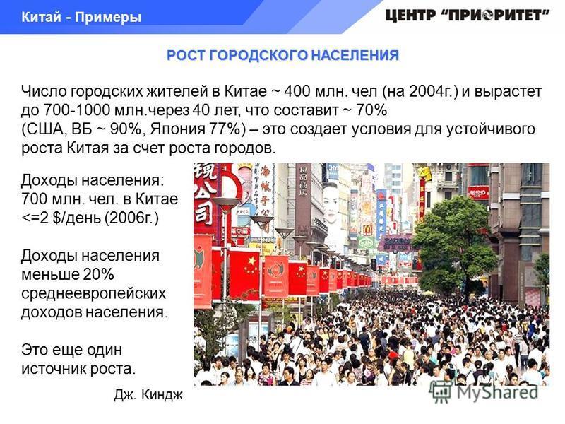 РОСТ ГОРОДСКОГО НАСЕЛЕНИЯ Число городских жителей в Китае ~ 400 млн. чел (на 2004 г.) и вырастет до 700-1000 млн.через 40 лет, что составит ~ 70% (США, ВБ ~ 90%, Япония 77%) – это создает условия для устойчивого роста Китая за счет роста городов. Кит