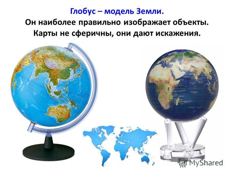 Глобус – модель Земли. Он наиболее правильно изображает объекты. Карты не сферичны, они дают искажения.