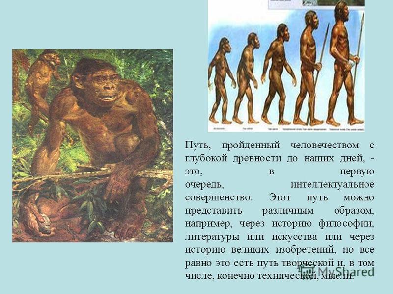 Путь, пройденный человечеством с глубокой древности до наших дней, - это, в первую очередь, интеллектуальное совершенство. Этот путь можно представить различным образом, например, через историю философии, литературы или искусства или через историю ве
