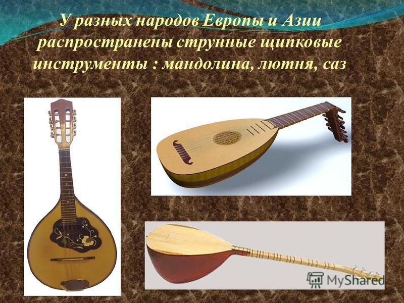 У разных народов Европы и Азии распространены струнные щипковые инструменты : мандолина, лютня, саз