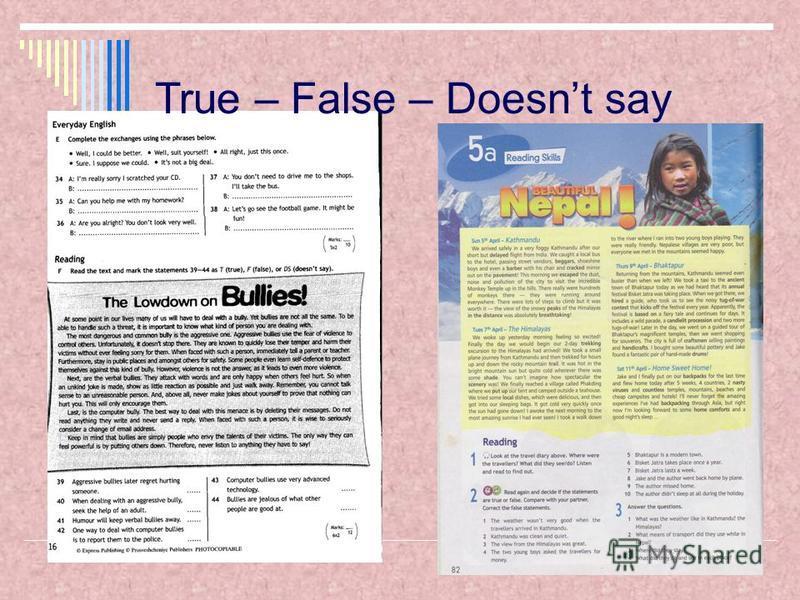 True – False – Doesnt say