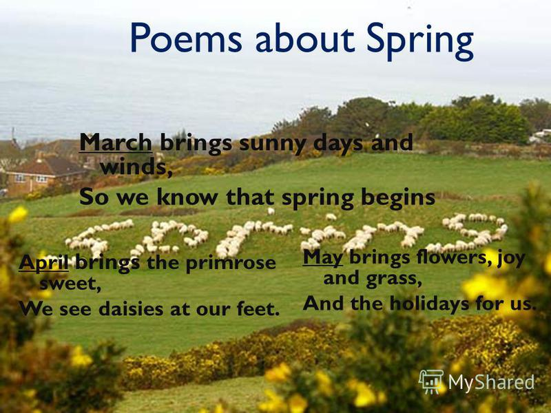 Poems about Spring March brings sunny days and winds, So we know that spring begins April brings the primrose sweet, We see daisies at our feet. May brings flowers, joy and grass, And the holidays for us.