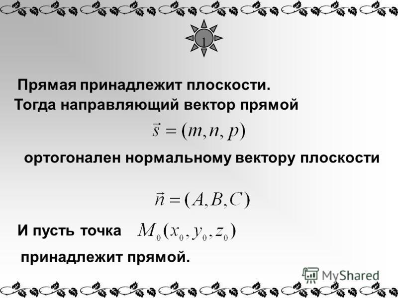 1 Прямая принадлежит плоскости. ортогонален нормальному вектору плоскости И пусть точка Тогда направляющий вектор прямой принадлежит прямой.