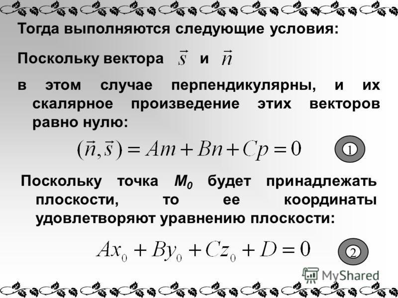 Тогда выполняются следующие условия: и в этом случае перпендикулярны, и их скалярное произведение этих векторов равно нулю: Поскольку вектора Поскольку точка М 0 будет принадлежать плоскости, то ее координаты удовлетворяют уравнению плоскости: 1 2
