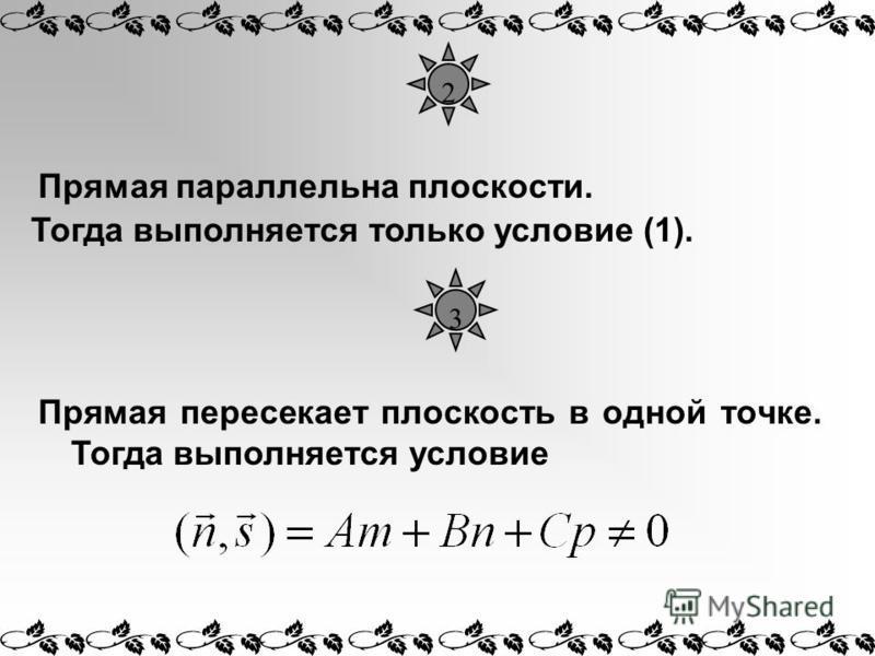 2 Прямая параллельна плоскости. Прямая пересекает плоскость в одной точке. Тогда выполняется условие Тогда выполняется только условие (1). 3