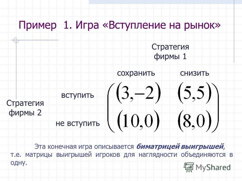 Пример 1. Игра «Вступление на рынок» Стратегия фирмы 2 Стратегия фирмы 1 вступить не вступить сохранить снизить Эта конечная игра описывается биматрицей выигрышей, т.е. матрицы выигрышей игроков для наглядности объединяются в одну.