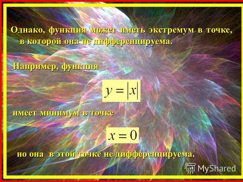 Однако, функция может иметь экстремум в точке, в которой она не дифференцируема. Например, функция имеет минимум в точке но она в этой точке не дифференцируема.