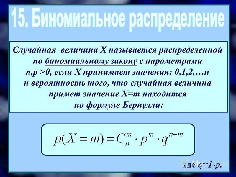 где q=1-p. Случайная величина Х называется распределенной по биномиальному закону с параметрами n,p >0, если Х принимает значения: 0,1,2,…n и вероятность того, что случайная величина примет значение X=m находится по формуле Бернулли: