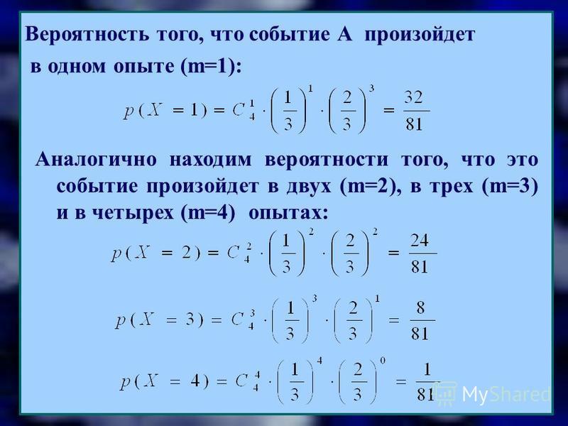 Вероятность того, что событие А произойдет в одном опыте (m=1): Аналогично находим вероятности того, что это событие произойдет в двух (m=2), в трех (m=3) и в четырех (m=4) опытах: