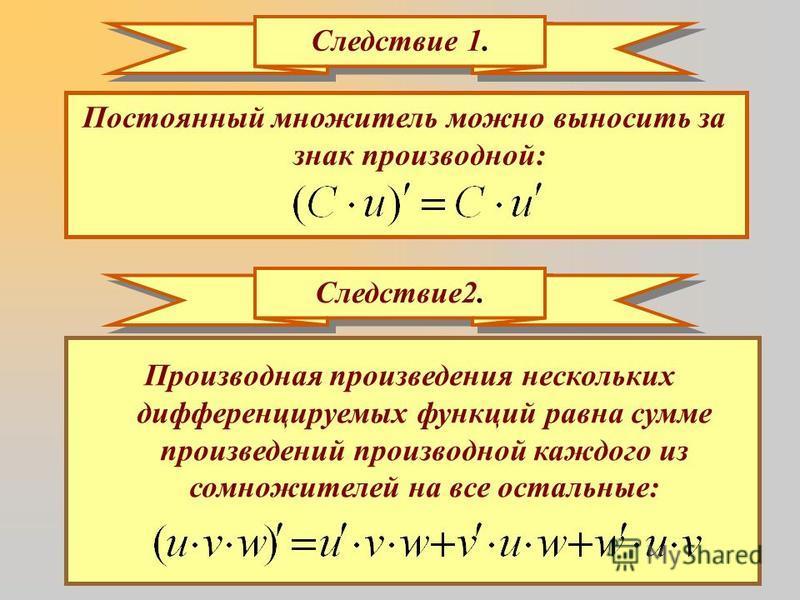 Следствие 1. Постоянный множитель можно выносить за знак производной: Следствие 2. Производная произведения нескольких дифференцируемых функций равна сумме произведений производной каждого из сомножителей на все остальные: