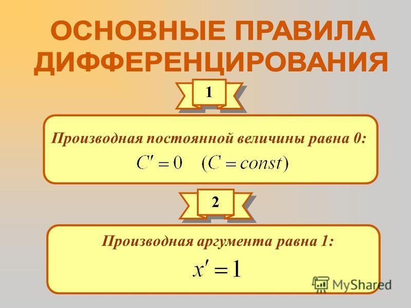 1 1 Производная постоянной величины равна 0: 2 2 Производная аргумента равна 1: