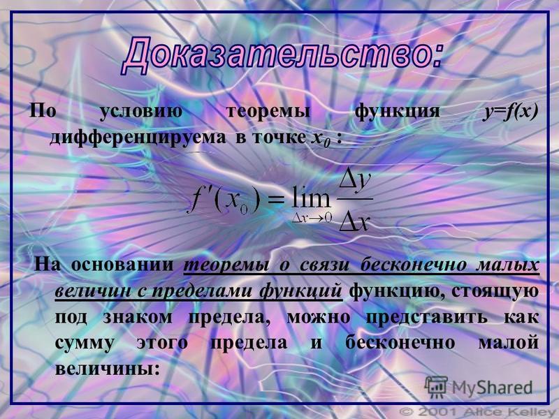 По условию теоремы функция y=f(x) дифференцируема в точке x 0 : На основании теоремы о связи бесконечно малых величин с пределами функций функцию, стоящую под знаком предела, можно представить как сумму этого предела и бесконечно малой величины: