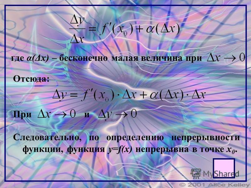 где α(Δx) – бесконечно малая величина при Отсюда: Прии Следовательно, по определению непрерывности функции, функция y=f(x) непрерывна в точке x 0.