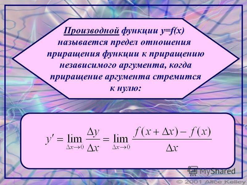 Производной функции y=f(x) называется предел отношения приращения функции к приращению независимого аргумента, когда приращение аргумента стремится к нулю: