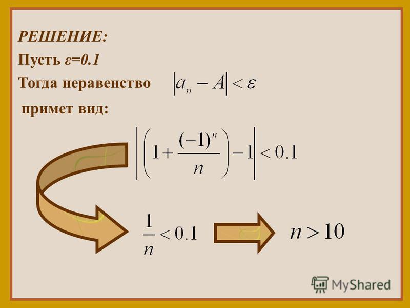 РЕШЕНИЕ: Пусть ε=0.1 Тогда неравенство примет вид: