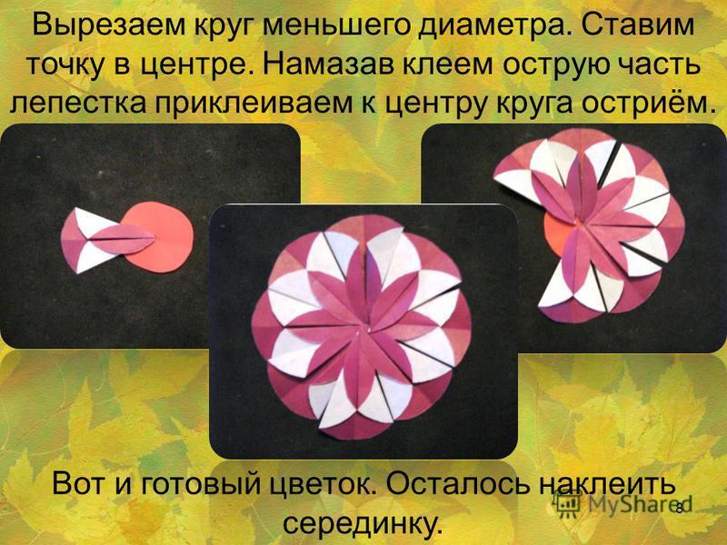 Вырезаем круг меньшего диаметра. Ставим точку в центре. Намазав клеем острую часть лепестка приклеиваем к центру круга остриём. Вот и готовый цветок. Осталось наклеить серединку. 8
