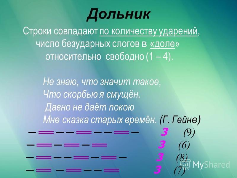 Строки совпадают по количеству ударений, число безударных слогов в «доле» относительно свободно (1 – 4). Не знаю, что значит такое, Что скорбью я смущён, Давно не даёт покою Мне сказка старых времён. (Г. Гейн е) 3 (9) 3 (6) 3 (8) 3 (7) Дольник
