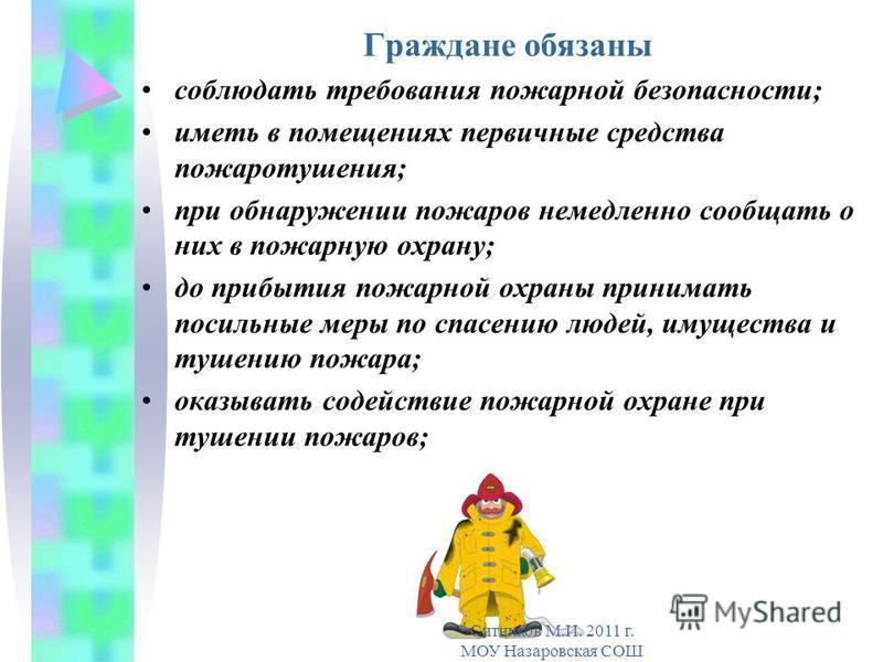Граждане обязаны соблюдать требования пожарной безопасности; иметь в помещениях первичные средства пожаротушения; при обнаружении пожаров немедленно сообщать о них в пожарную охрану; до прибытия пожарной охраны принимать посильные меры по спасению лю