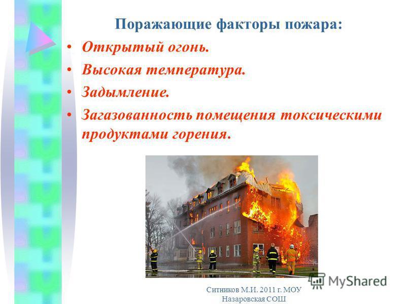 Поражающие факторы пожара: Открытый огонь. Высокая температура. Задымление. Загазованность помещения токсическими продуктами горения. Ситников М.И. 2011 г. МОУ Назаровская СОШ