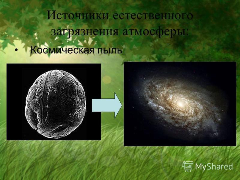 Источники естественного загрязнения атмосферы: Космическая пыль