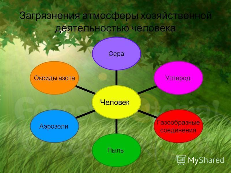 Загрязнения атмосферы хозяйственной деятельностью человека Человек Сера Углерод Газообразные соединения Пыль АэрозолиОксиды азота