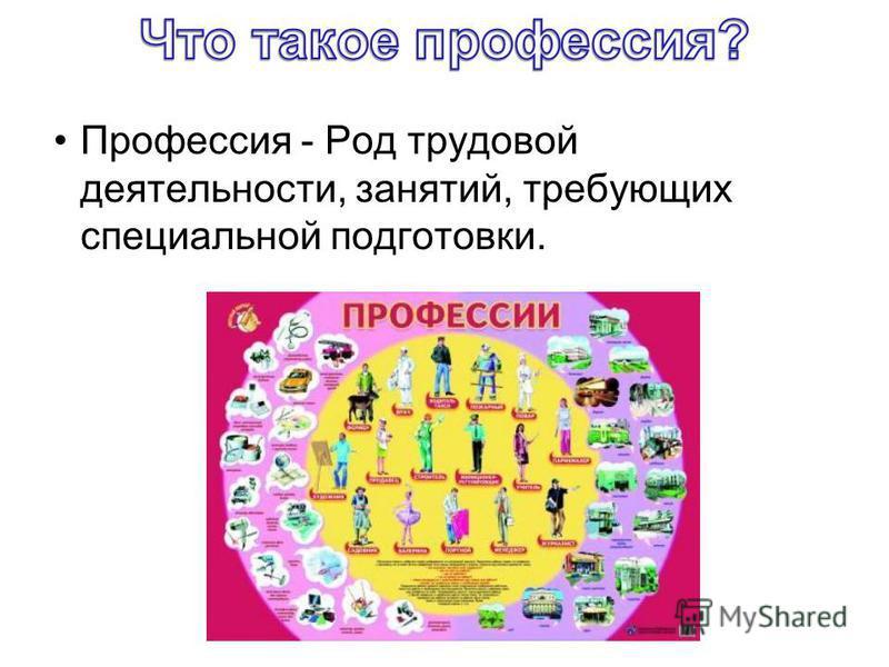 Профессия - Род трудовой деятельности, занятий, требующих специальной подготовки.