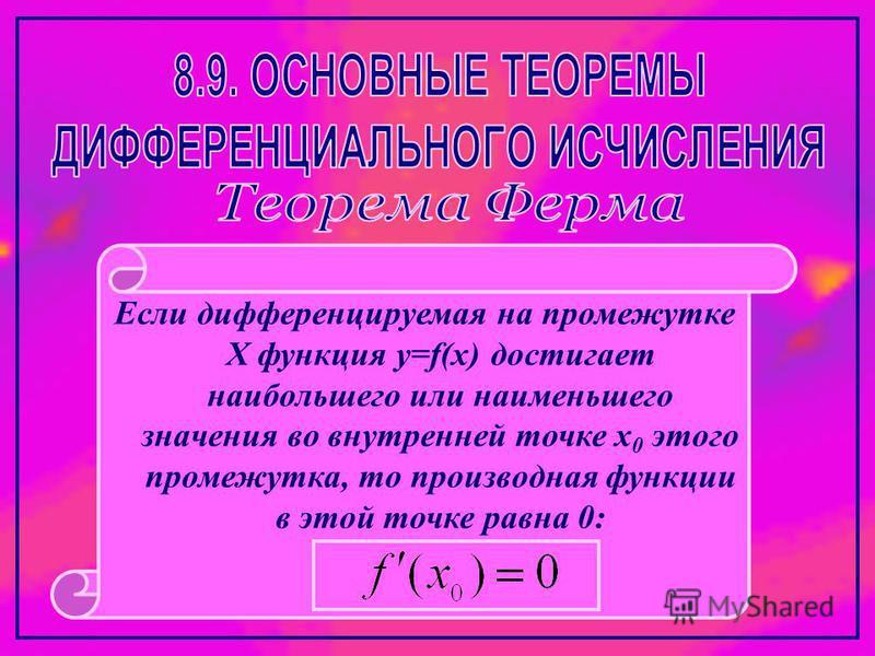 Если дифференцируемая на промежутке Х функция y=f(x) достигает наибольшего или наименьшего значения во внутренней точке х 0 этого промежутка, то производная функции в этой точке равна 0:
