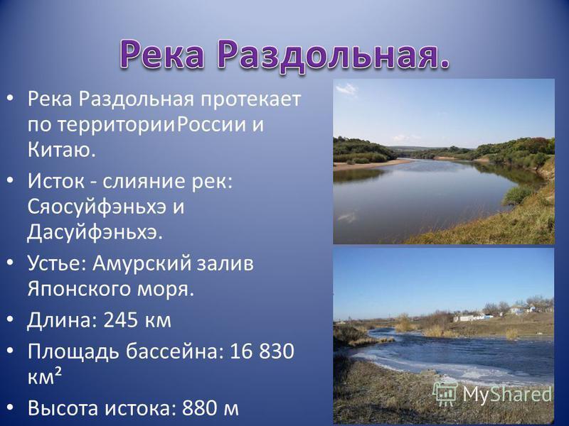 Река Раздольная протекает по территории России и Китаю. Исток - слияние рек: Сяосуйфэньхэ и Дасуйфэньхэ. Устье: Амурский залив Японского моря. Длина: 245 км Площадь бассейна: 16 830 км² Высота истока: 880 м