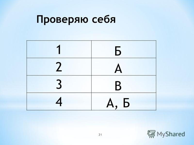 Проверяю себя 1 2 3 4 Б А В А, Б 31