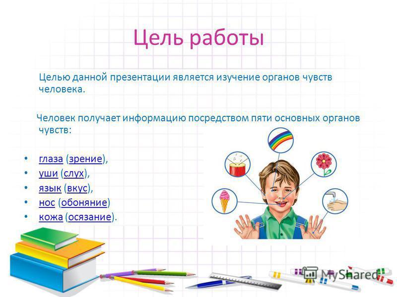 Цель работы Целью данной презентации является изучение органов чувств человека. Человек получает информацию посредством пяти основных органов чувств: глаза (зрение), глаза зрение уши (слух), уши слух язык (вкус), язык вкусно с (обоняние) нос обоняние