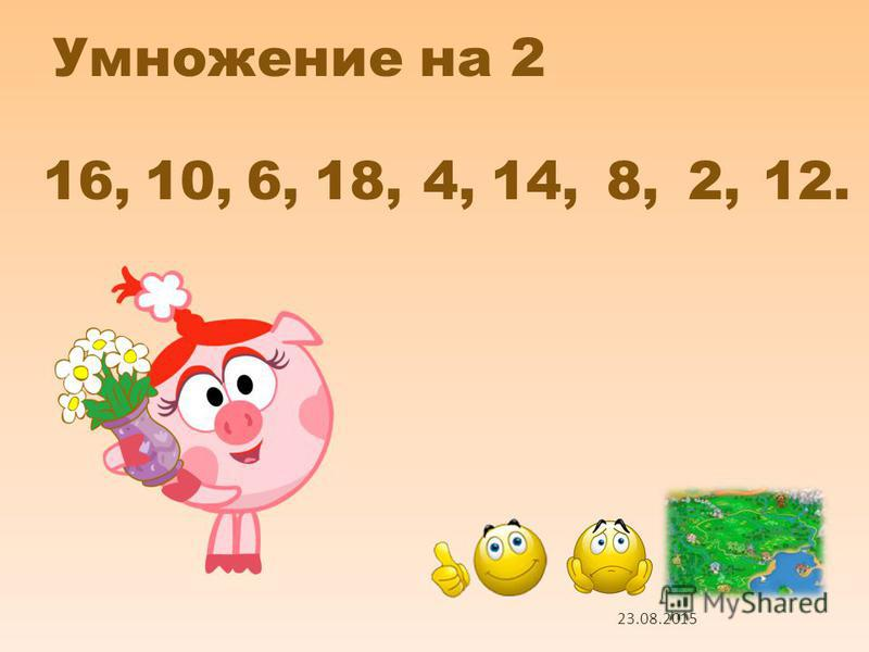 Умножение на 2 2 х 8 2 х 5 2 х 3 2 х 9 2 х 2 2 х 7 2 х 4 2 х 1 2 х 6 1 2 5 6 3 9 4 7 8 Проверь себя 23.08.2015