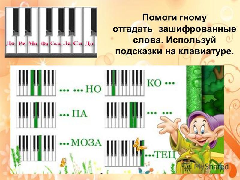 Помоги гному отгадать зашифрованные слова. Используй подсказки на клавиатуре.