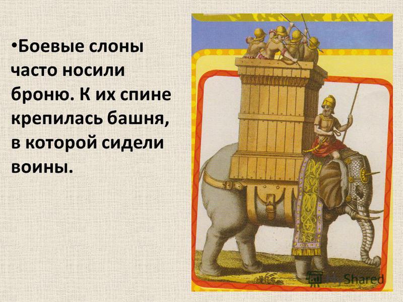 Боевые слоны часто носили броню. К их спине крепилась башня, в которой сидели воины.