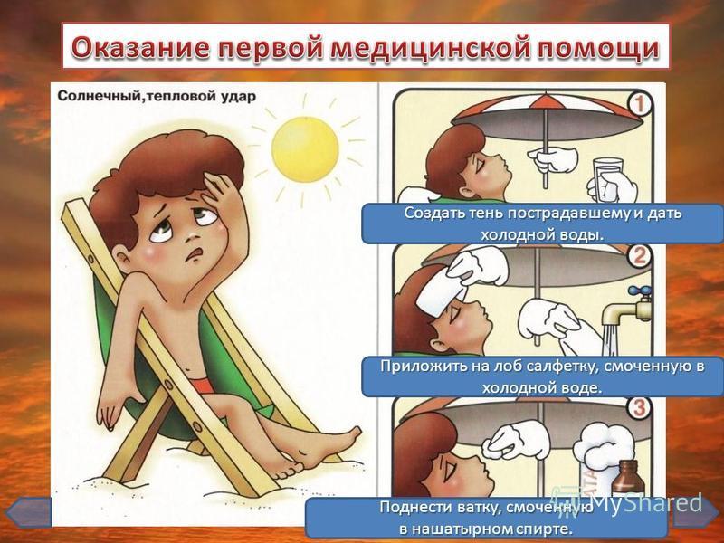 1 3 2 Подставить обожженное место под струю холодной воды на 10-15 минут. Наложить стерильную повязку. Дать выпить обезболивающее средство.