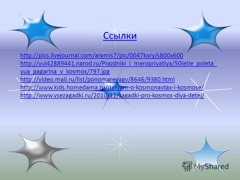 Ссылки http://pics.livejournal.com/aramis7/pic/0047kxry/s800x600 http://yul42889441.narod.ru/Prazdniki_i_meropriyatiya/50letie_poleta_ yua_gagarina_v_kosmos/797.jpg http://video.mail.ru/list/ponomarevagv/8646/9380.html http://www.kids.homedama.ru/det