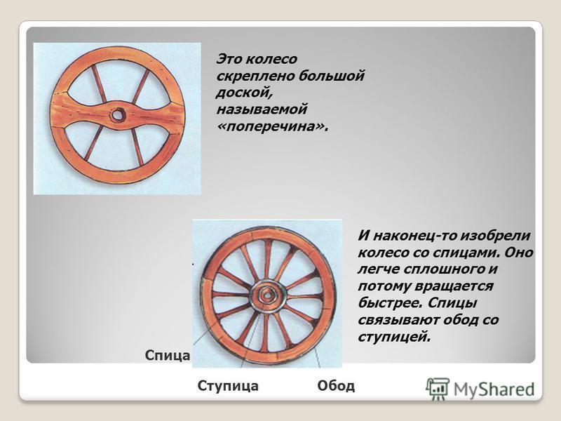 И наконец-то изобрели колесо со спицами. Оно легче сплошного и потому вращается быстрее. Спицы связывают обод со ступицей. Это колесо скреплено большой доской, называемой «поперечина». Спица Ступица Обод