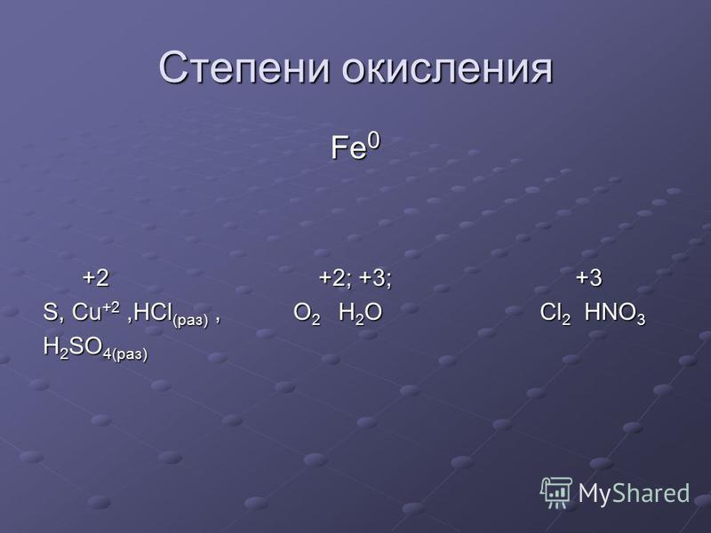 Степени окисления Fe 0 +2 +2; +3; +3 +2 +2; +3; +3 S, Cu +2,HCl (раз), O 2 H 2 O Cl 2 HNO 3 H 2 SO 4(раз)