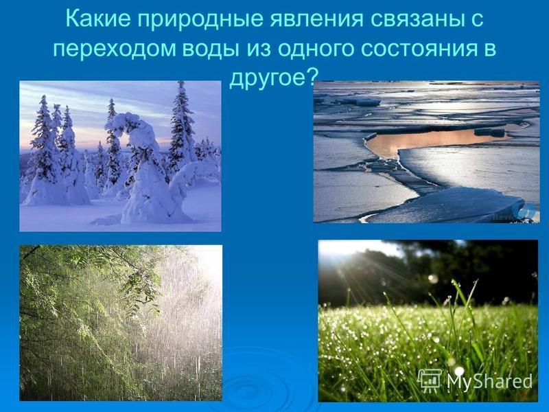 Какие природные явления связаны с переходом воды из одного состояния в другое?