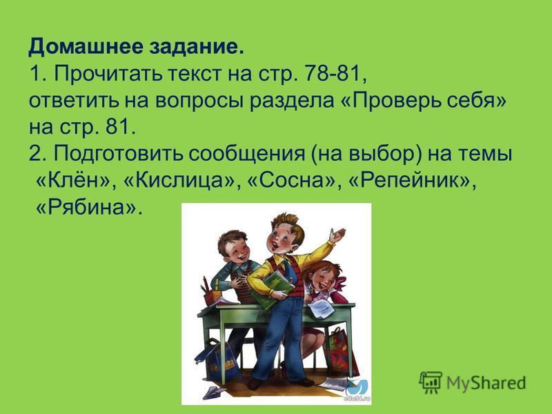Домашнее задание. 1. Прочитать текст на стр. 78-81, ответить на вопросы раздела «Проверь себя» на стр. 81. 2. Подготовить сообщения (на выбор) на темы «Клён», «Кислица», «Сосна», «Репейник», «Рябина».