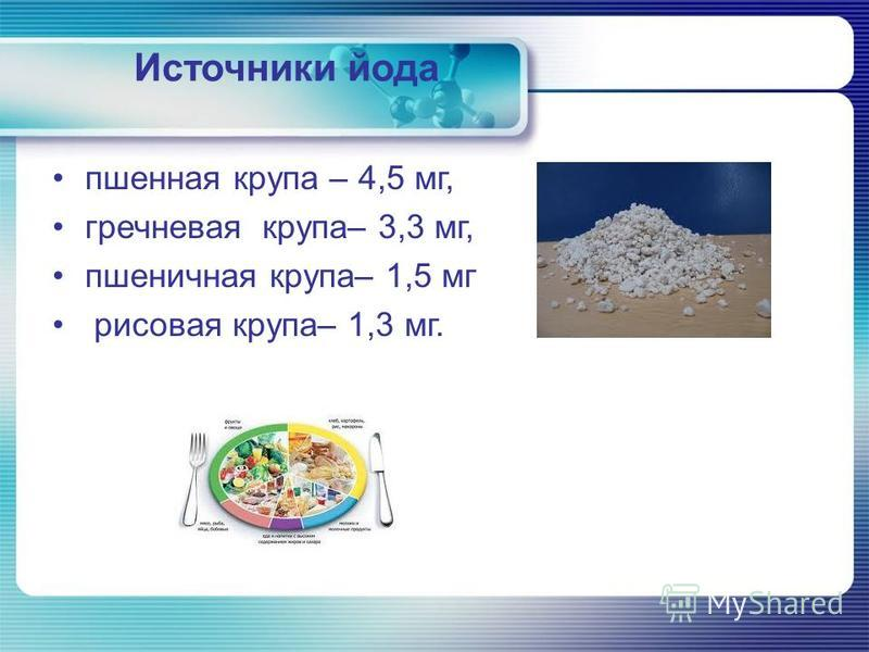 Источники йода пшенная крупа – 4,5 мг, гречневая крупа– 3,3 мг, пшеничная крупа– 1,5 мг рисовая крупа– 1,3 мг.