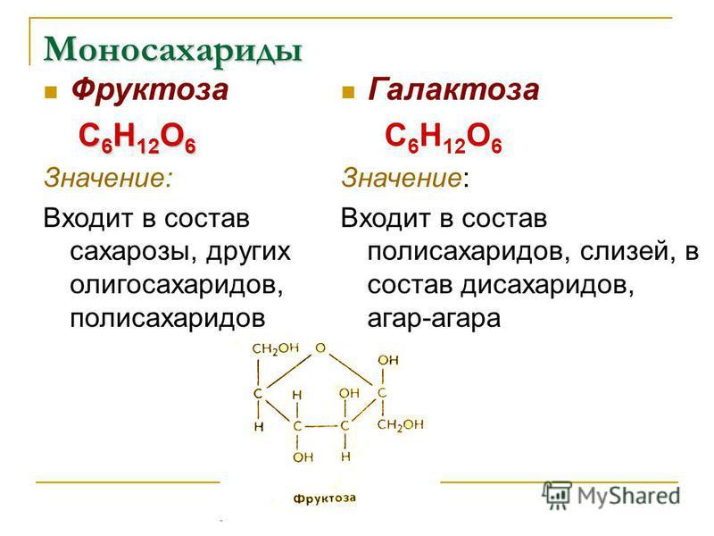 Моносахариды Фруктоза С 6 Н 12 О 6 С 6 Н 12 О 6 Значение: Входит в состав сахарозы, других олигосахаридов, полисахаридов Галактоза С 6 Н 12 О 6 Значение: Входит в состав полисахаридов, слизей, в состав дисахаридов, агар-агара
