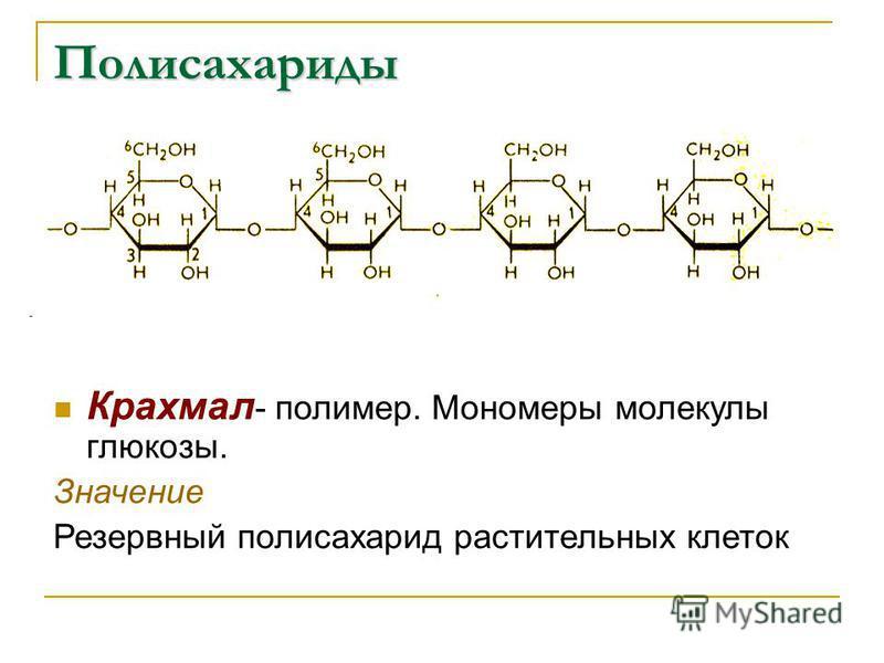 Крахмал - полимер. Мономеры молекулы глюкозы. Значение Резервный полисахарид растительных клеток Полисахариды